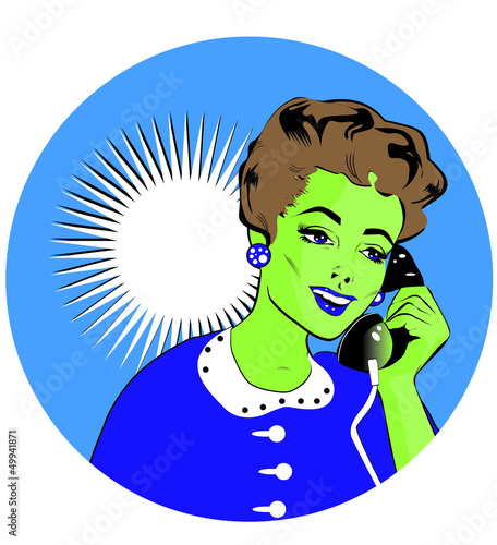Lady Chatting On The Phone - Pop Art