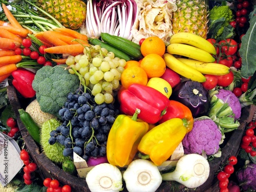 vegetables and fruit on the basket