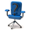 Blue office chair icon with question mark, 3d