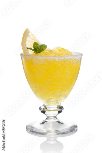 Lemon slushie cups decorated with mint isolated