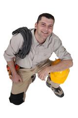 Cheerful electrician