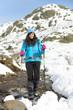 Hiking on winter mountain