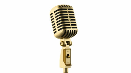 golden vintage microphone loop rotate on white background