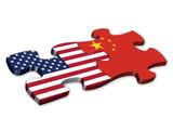 Fototapety US & Chinese Flags (China American politics jigsaw)