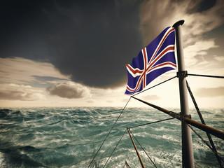 Union Jack over ocean