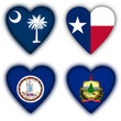 Flags in the shape of a heart, US states