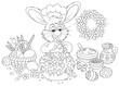 Rabbit decorating an Easter cake