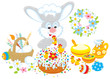 Easter bunny decorates a fancy cake