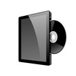 Realistic tablet pc computer with DVD Disk. Vector