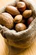 Various nuts in jute bag