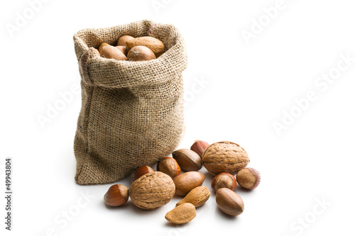 Various nuts in jute bag