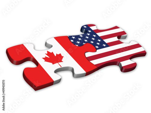 US & Canadian Flags (Canada American icons jigsaw)