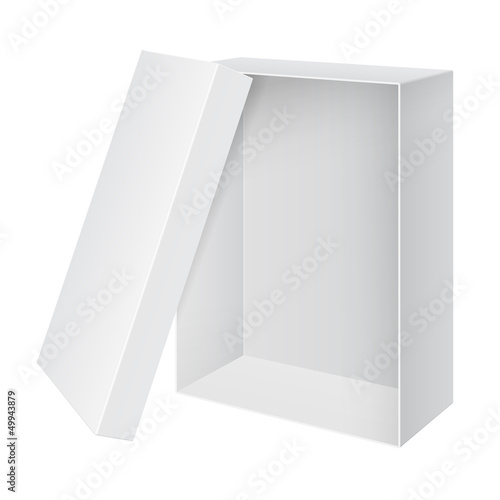 Cool Realistic White blank Package Box Opened