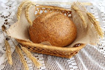 Tasty homemade bread in basket