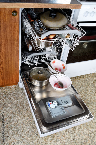 Dirty dishes in the dishwasher