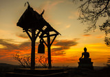 Sunset old Temple wat Praputtachai at Saraburi, Thailand
