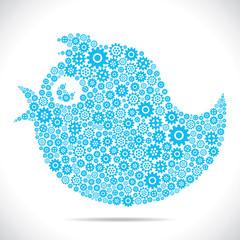 tweet bird design with gear stock vector