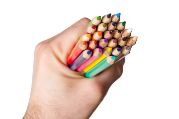 pencils in a human hand