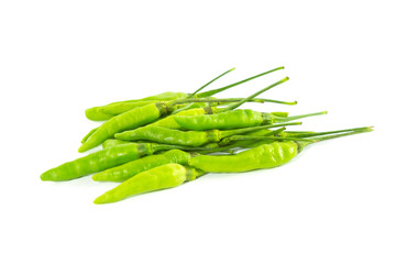 Green chili on white background