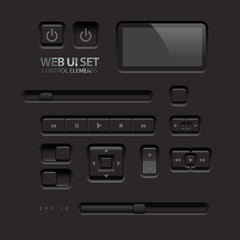 Black Web UI Elements. Vector illustration