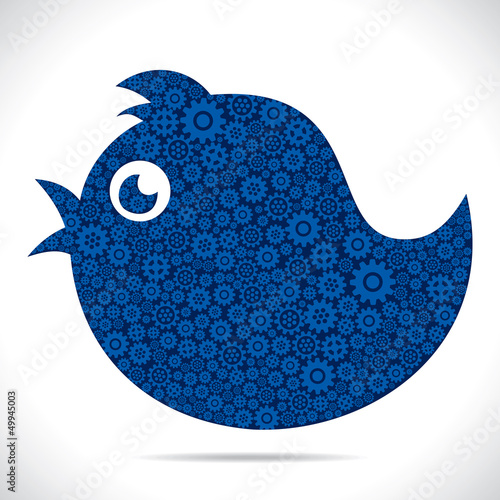 tweet bird design with gear stock vector