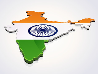 Carte 3D de l'Inde drapeau sur fond