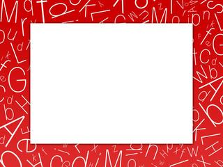 cadre rouge et lettres