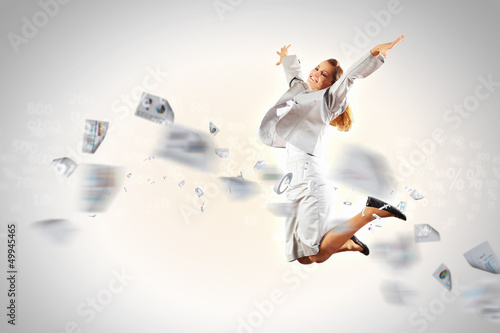 Image of running businesswoman