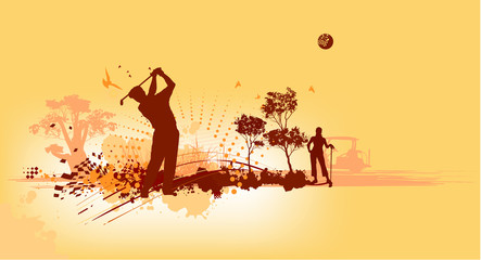 Golf Silhouettes in yellow background