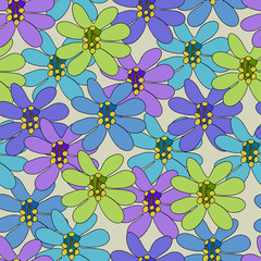 Seamless pattern with large flowers