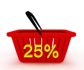 shopping basket with writing on it discount 25%