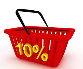 shopping basket with writing on it discount 10%