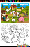 Cartoon Farm and Livestock Animals for Coloring poster