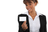Woman showing off business-card