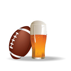 American football background with glass of beer