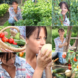 Mosaic of woman in vegetable garden