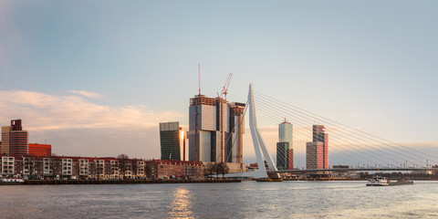 Panorama of the Rotterdam skyline in The Netherlands
