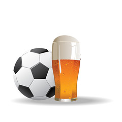 football background with glass of beer