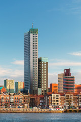 Rotterdam skyline with houses and skyscrapers in The Netherlands