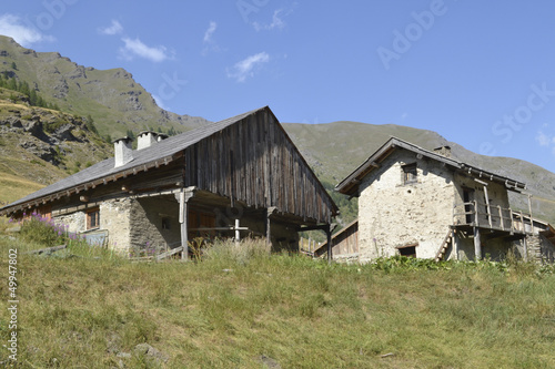 Little farms in a mountainvillage in the French alps