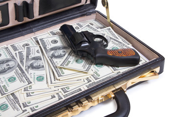 case with money and gun