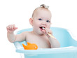baby kid taking bath and brushing teeth