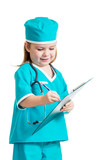 Adorable kid girl uniformed as doctor over white background
