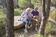 smiling duo happy to hike together for their pension