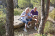 fun hiking break for active senior couple