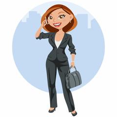 Mujer de negocios elegante hablando por el móvil