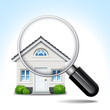 house & magnifying glass