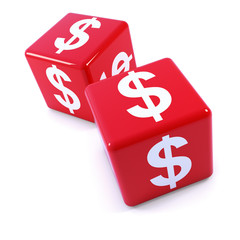 Two red dice with US Dollar symbols
