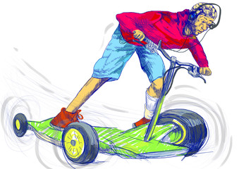 young boy on a fantastic machine - special scooter or skateboard