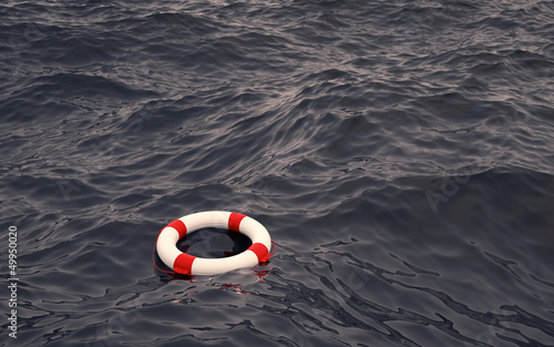 Leinwanddruck Bild Rettungsring auf hoher See